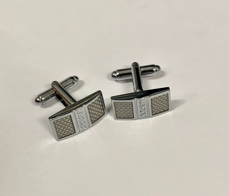 Rectangular Silver Carbon Fibre Cufflinks