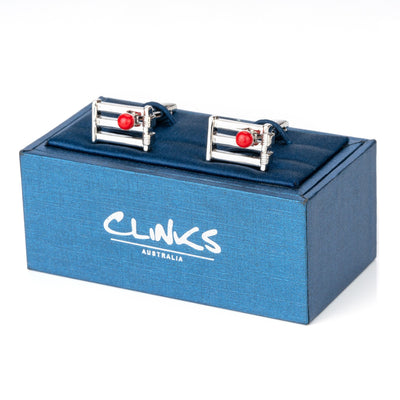Cricket Wicket and Red Ball Cufflinks