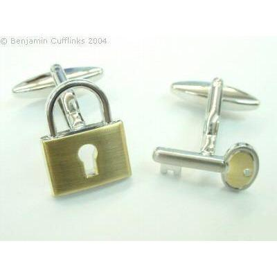 Padlock & Key Cufflinks(Gold)