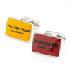 Red and Yellow Card Soccer Football Cufflinks