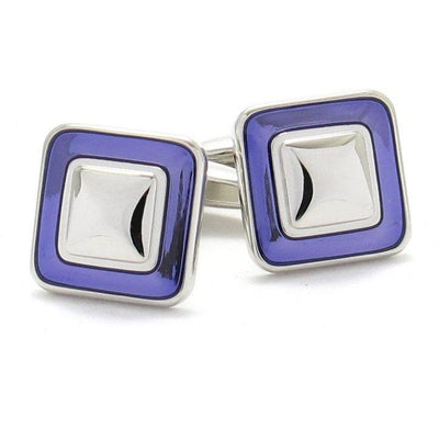 Purple Square Silver Cufflinks