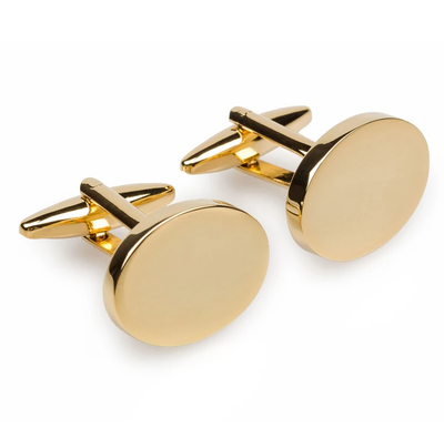 Gold Oval Engravable Cufflinks