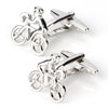 Silver Bicycle Cyclist Cufflinks