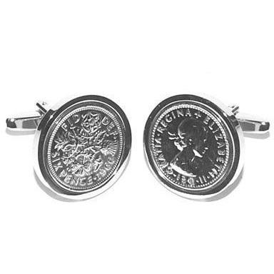 Real English Silver Sixpence Piece Cufflinks
