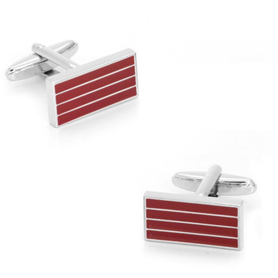 Red and Silver Cufflinks