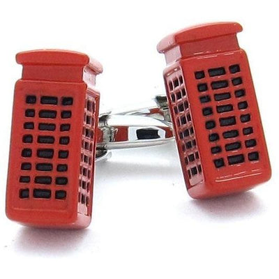 "Red ""London"" Phone Booth Cufflinks"
