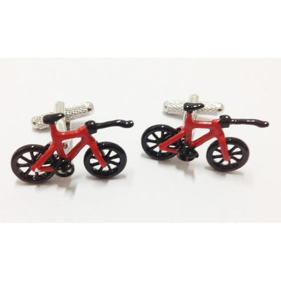 Red Triathlon Bike Cufflinks