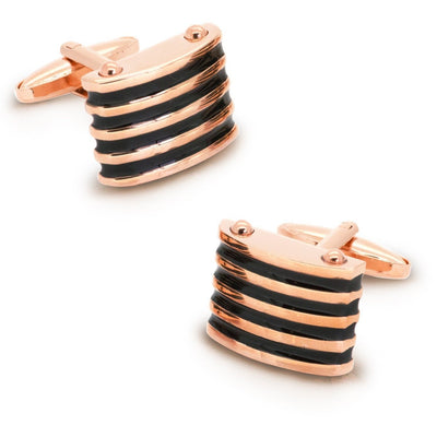 Rose Gold with Black Enamel Grooves Cufflinks