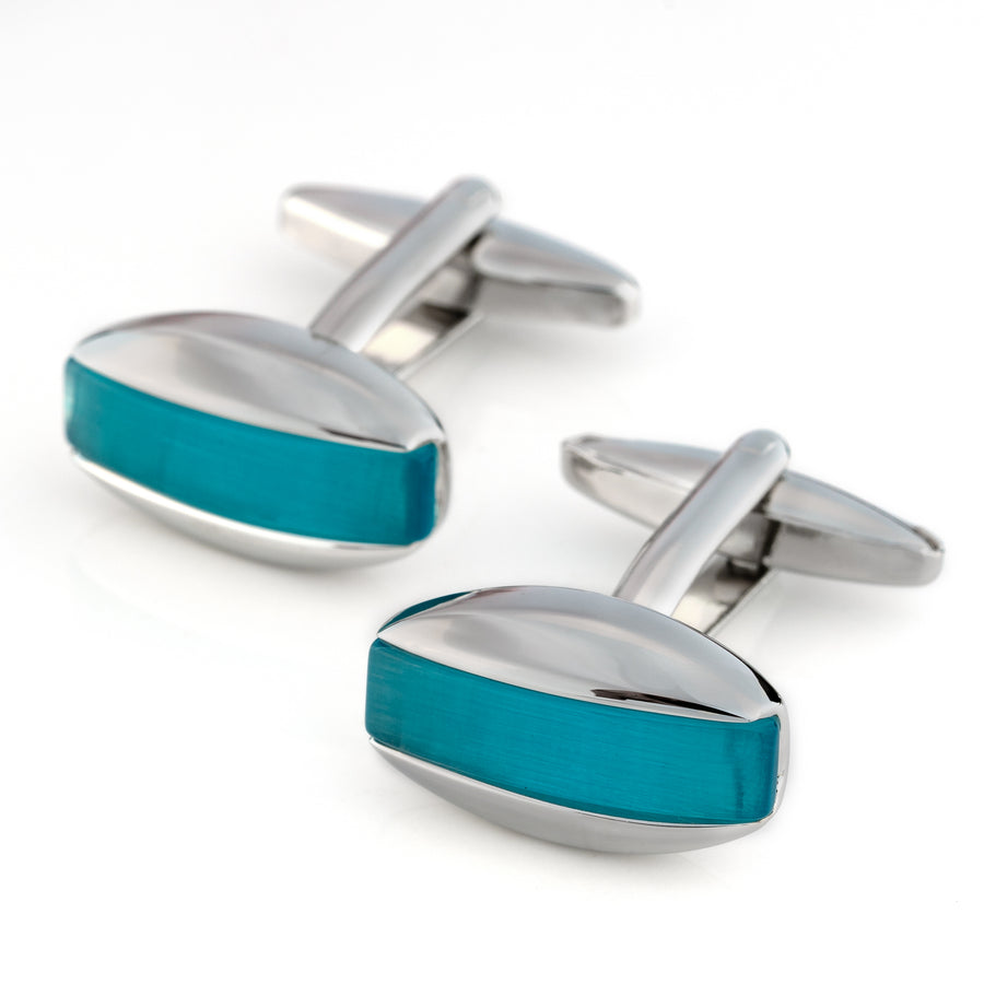 Aqua Blue Cateye Cufflinks