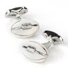 Footy White Leather Football Cufflinks