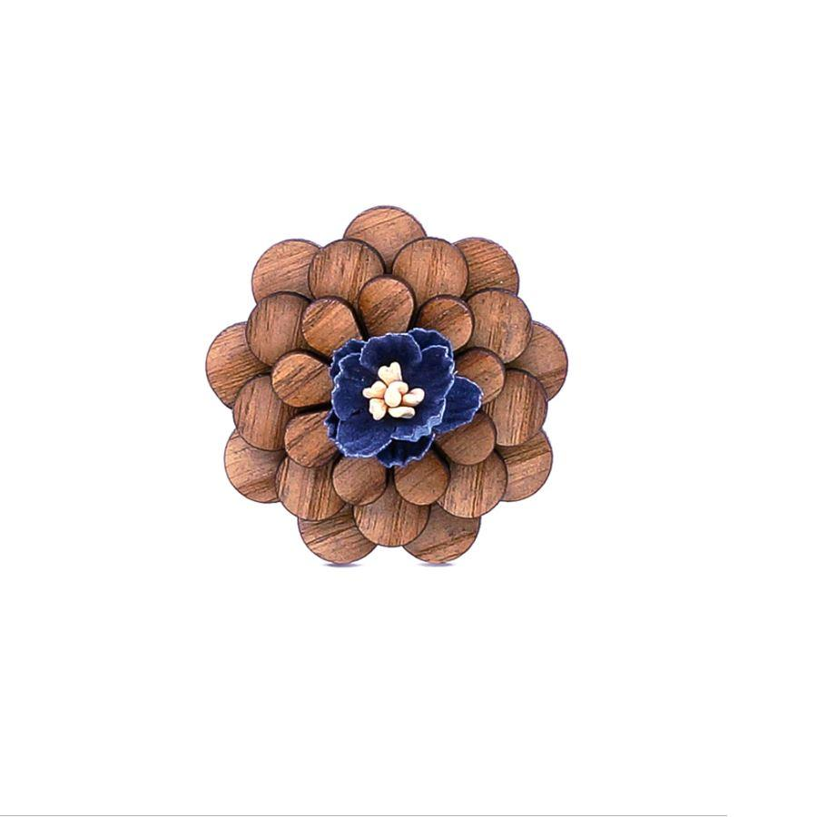 Wooden Blue Flower Lapel Pin