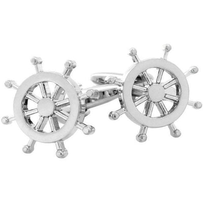 Silver Helm Ships Wheel Cufflinks