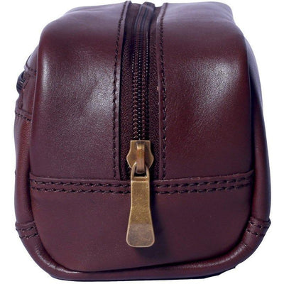 Small Leather Toiletry Bag in Dark Cognac