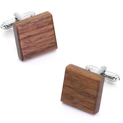 Square Natural Wood Cufflinks