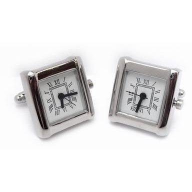 Square White Faced Working Clock Watch Cufflinks