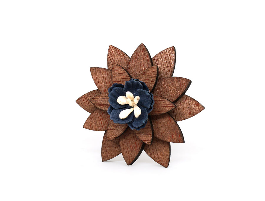 Wooden Star Flower Lapel Pin