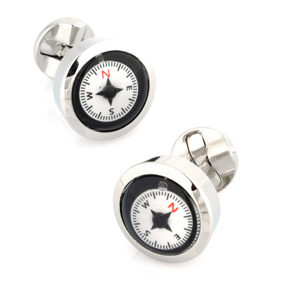 Working Compass Black & White Cufflinks