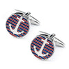 Red and Blue Stripes Anchor Cufflinks