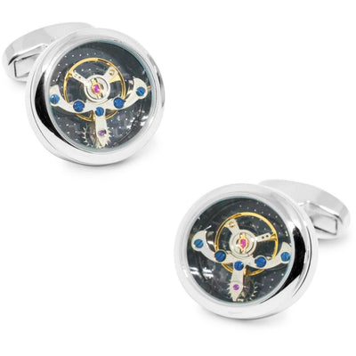 Tourbillon Watch Movement Cufflinks in Silver with Black Face