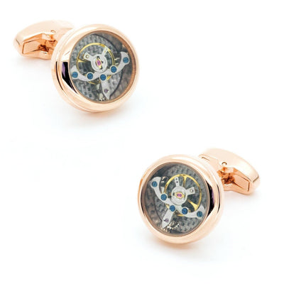 Tourbillon Watch Movement Cufflinks Rose Gold
