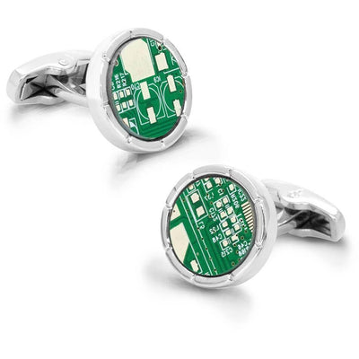 Upcycled Round Circuit Board Cufflinks