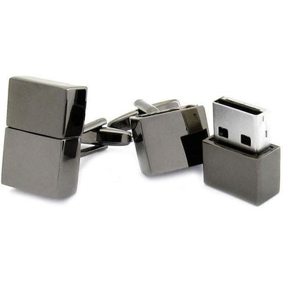 USB 4Gb Flash Drive Cufflinks in Gunmetal