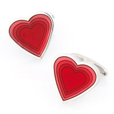 Red Heart Shaped Cufflinks
