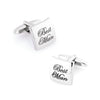 Best Man Curved Silver  Wedding Cufflinks
