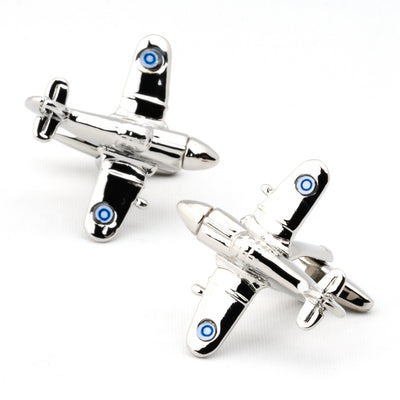Silver Fighter Jet Plane Cufflinks