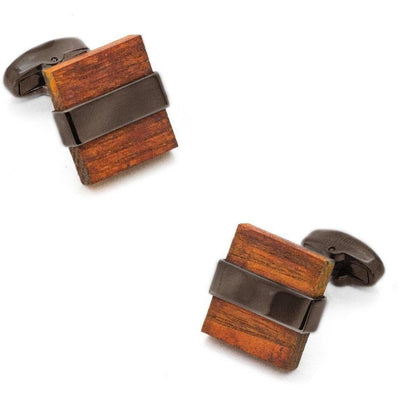 Wood and Gunmetal Cufflinks