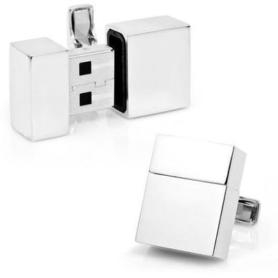 Working USB Cufflinks 4Gb Flash Drive in Silver