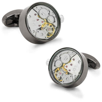 Working Watch Movement Steampunk Cufflinks Gunmetal and Silver