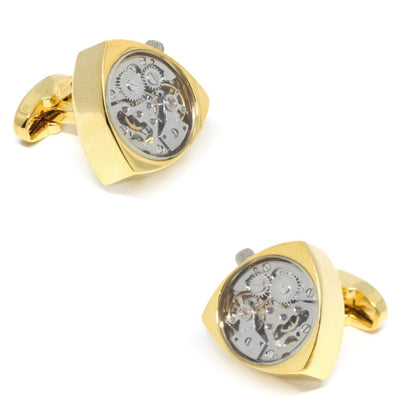 Working Watch Movement Steampunk Reuleaux Cufflinks Gold and Silver