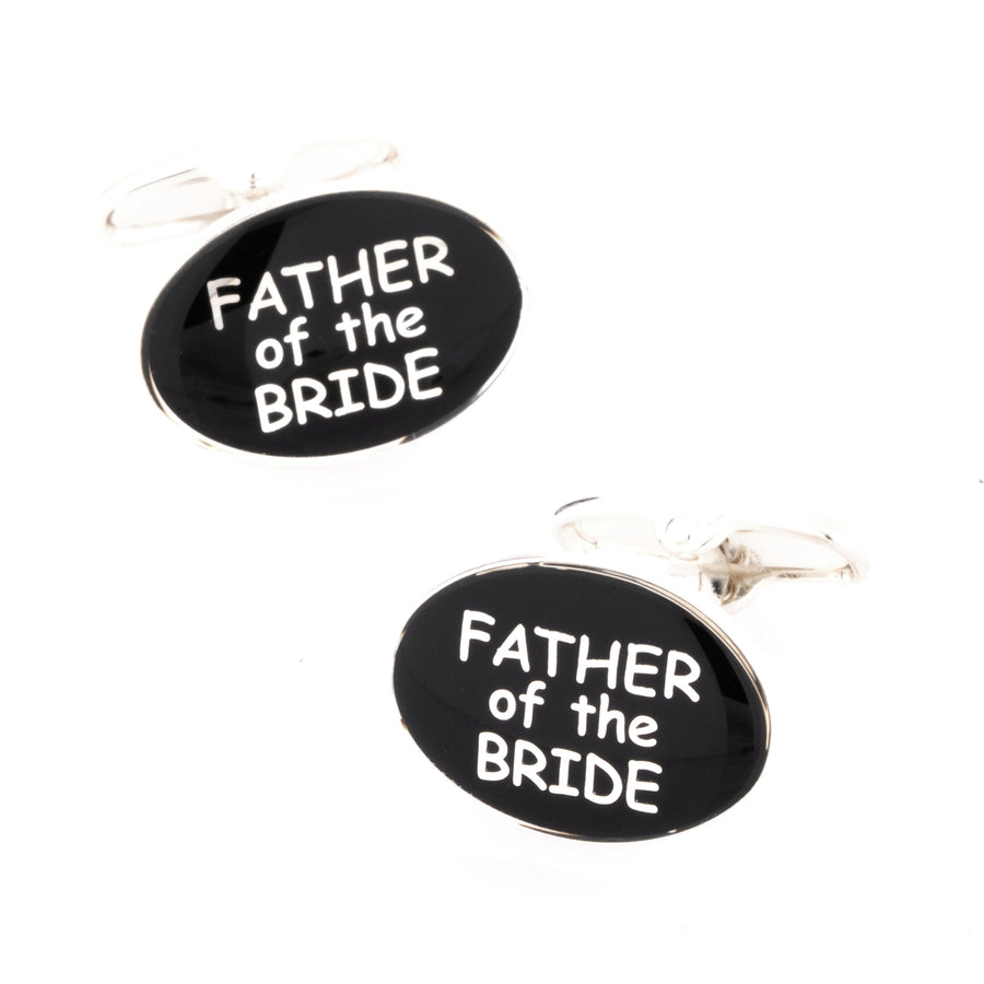 Father of the Bride Black and Silver Cufflinks