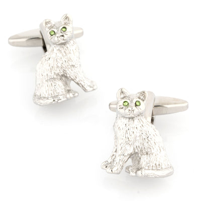 Silver cat with Crystal Eyes Cufflinks