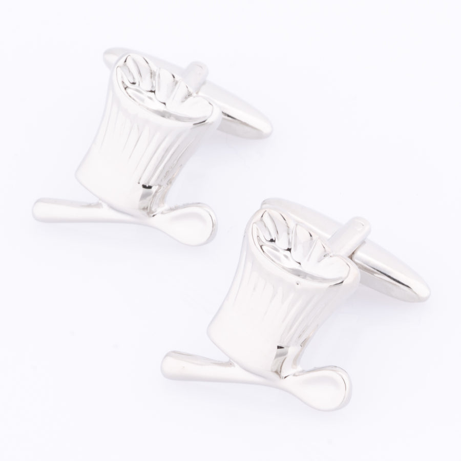 Chefs Hat & Spoon Silver Cufflinks