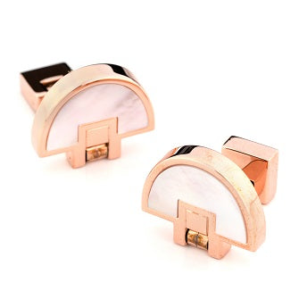 Rose Gold Mother of Pearl Half Moon Fold Flat Cufflinks