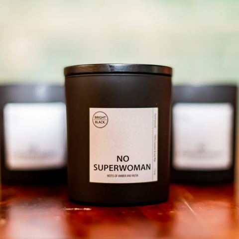 The NoSuperwoman Candle, by Bright Black Candle
