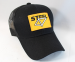 Steel bicycle frame snapback trucker hat