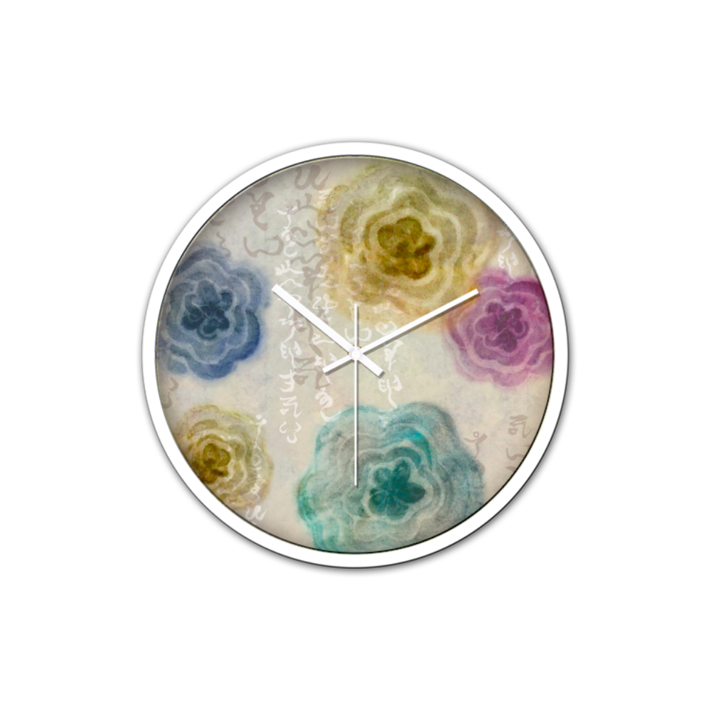 Kamiyomoji Flower Design Non-Ticking Silent Wall Clock with Modern and Nice Design for Wall Decoration (White)