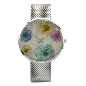 Kamiyomoji Flower Design 30 Meters Waterproof Quartz Fashion Watch With Casual Silver Stainless Steel Band