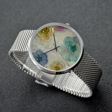Load image into Gallery viewer, Kamiyomoji Flower Design 30 Meters Waterproof Quartz Fashion Watch With Casual Silver Stainless Steel Band