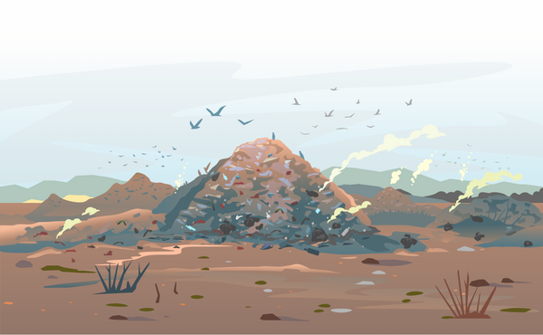 Painted landscape of a landfill pile of waste with a blue grey sky above and birds flying around.