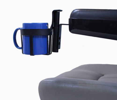 Cup Holder For Most Scooters/Powerchairs w/Padded Armrests | A1322 - wheelchairstrap.com