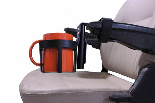 Cupholder For Scooter/Powerchairs w/Molded Armrest | A1324 - wheelchairstrap.com