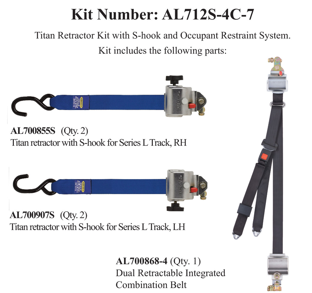 TITAN700 Retractor Kit with Occupant Restraint | S-Hooks & L-Track | AL712S-4C-7 - wheelchairstrap.com