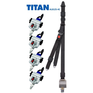 TITAN800 Retractor Kit with Occupant Restraint | S-Hooks & L-Track | AL812S-4C - wheelchairstrap.com