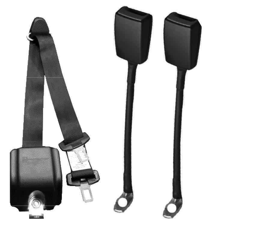 WAV Automatic 3 Point Belt Without Height Adjuster; with Two Flexible Buckles | H350232 - wheelchairstrap.com