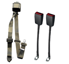 WAV Automatic 3 Point Belt with Height Adjuster and Two Flexible Buckles | H350233 - wheelchairstrap.com