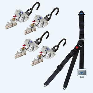 4 QRT Deluxe Retractors with L-Track fittings with Retractable Lap & Shoulder Belt | Q-81000-A1-L - wheelchairstrap.com